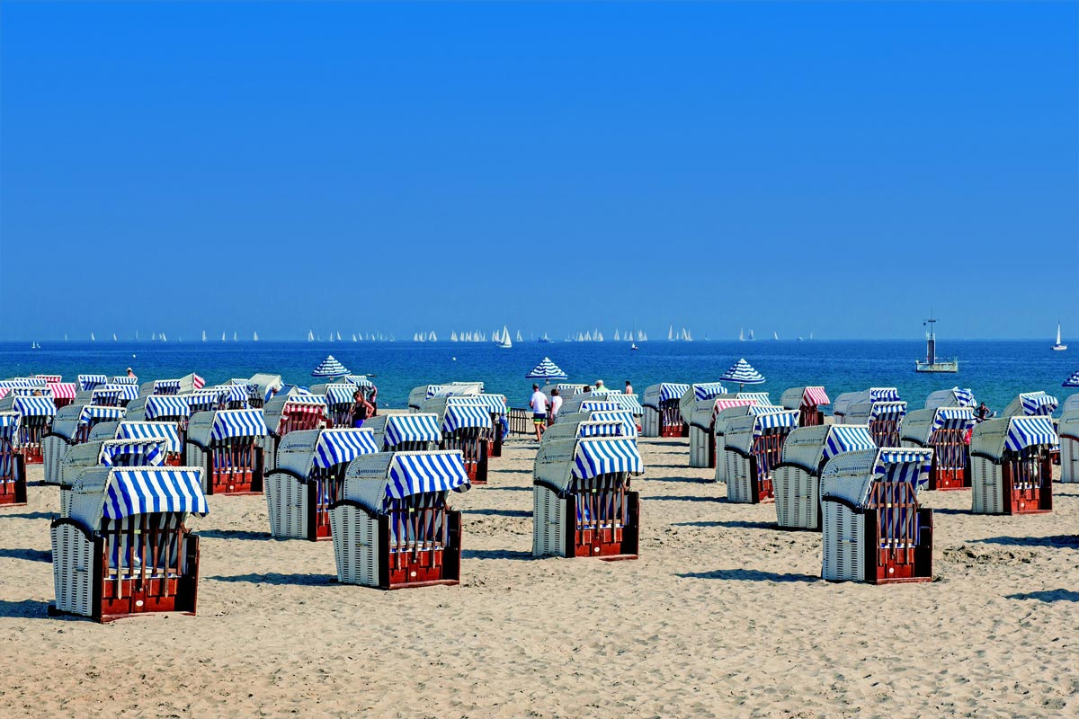 Beach chairs on the Baltic Sea