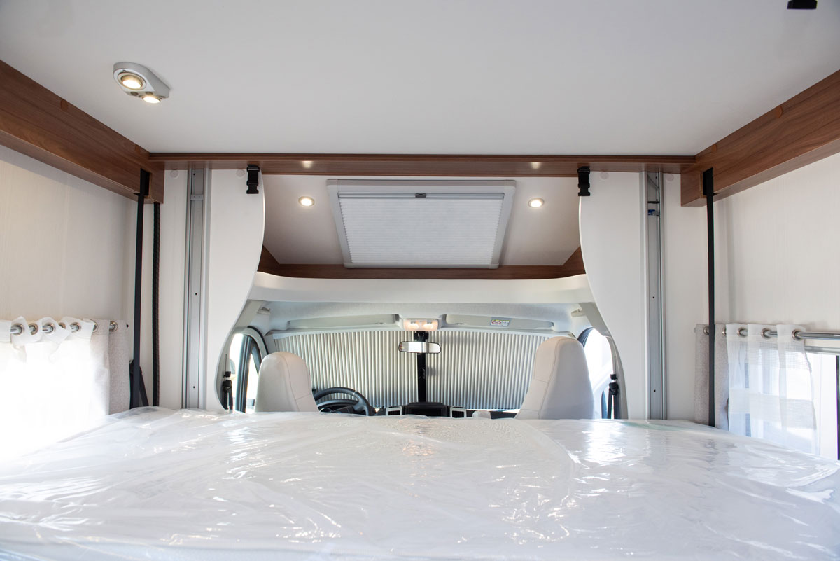Fold-down bed in Campervan